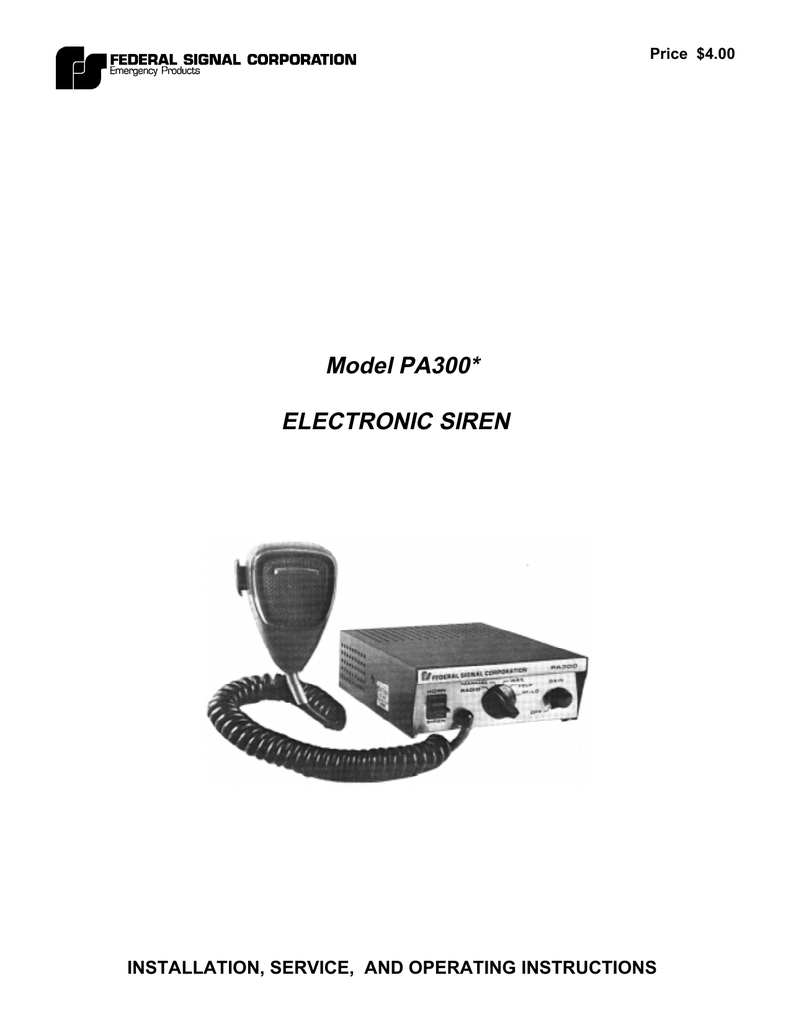 hight resolution of model pa300 electronic siren