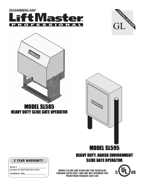 small resolution of liftmaster sl585 manual