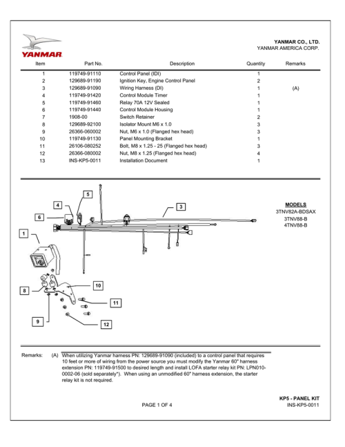small resolution of yanmar america corp item part no description 119749 91110 129689 91190 129689 91090 119749 91420 119749 91460 119749 91440 1908 00 129689 92100