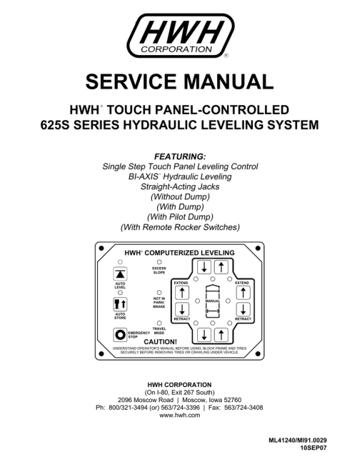 small resolution of hwh 625s series single step leveling system service manual