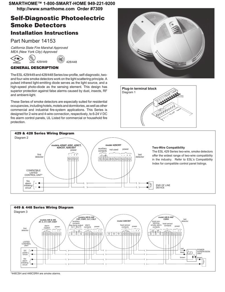 hight resolution of smoke detector esl sentrol 429 449 428 448 series installation
