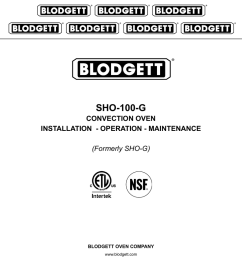 sho 100 g convection oven installation operation maintenance blodgett oven wiring diagram [ 791 x 1024 Pixel ]