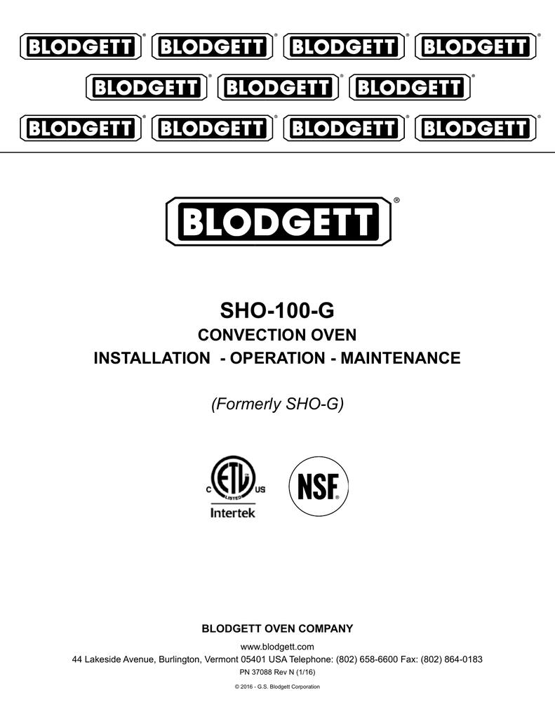 medium resolution of sho 100 g convection oven installation operation maintenance blodgett oven wiring diagram