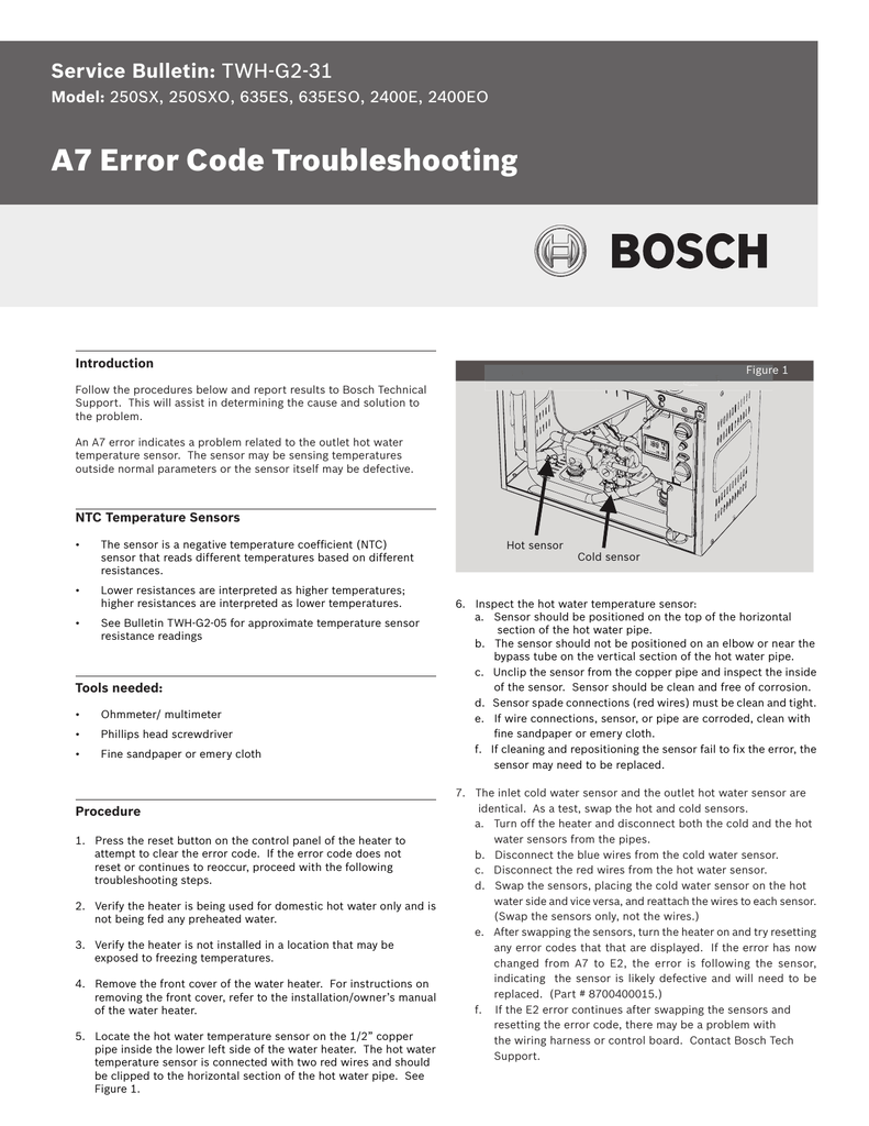 hight resolution of a7 error code troubleshooting service bulletin model introduction