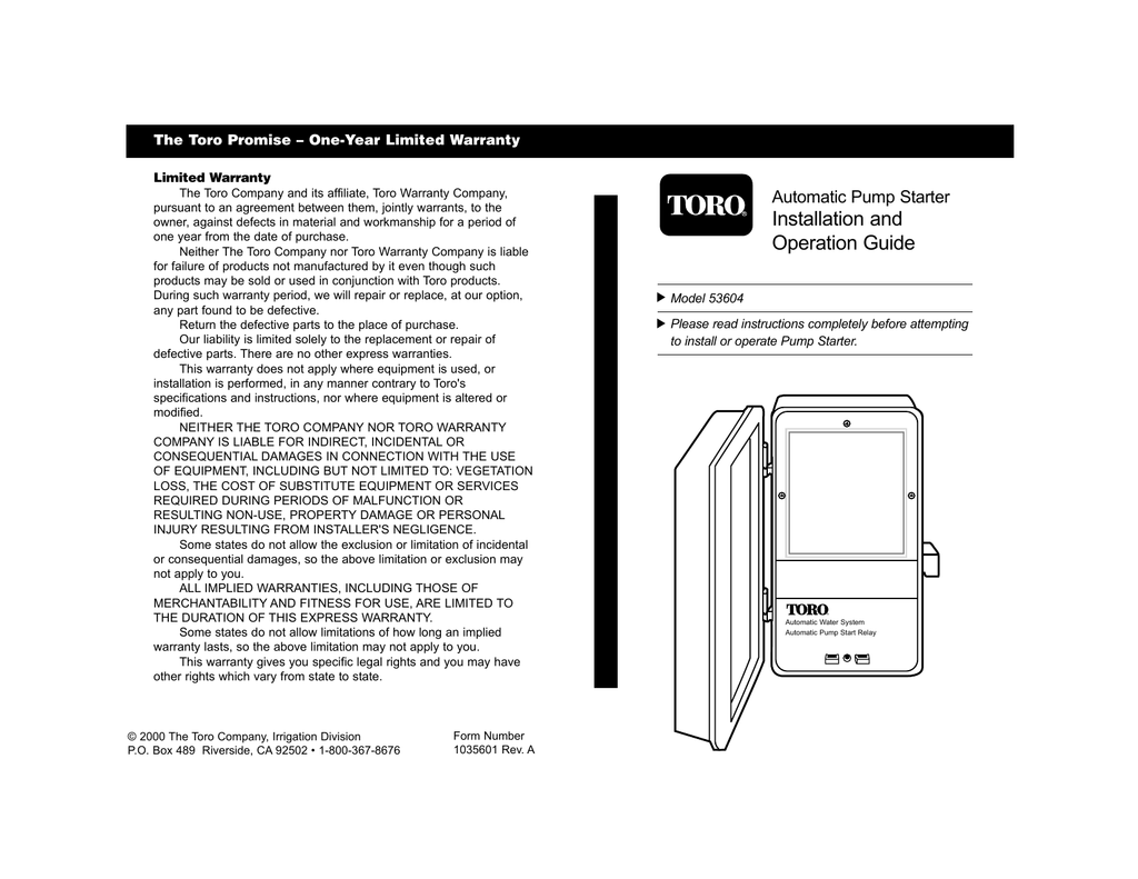 hight resolution of toro 53604 automatic pump start relay