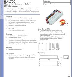 bal700 fluorescent emergency ballast 600 700 lumens specification sheet [ 791 x 1024 Pixel ]