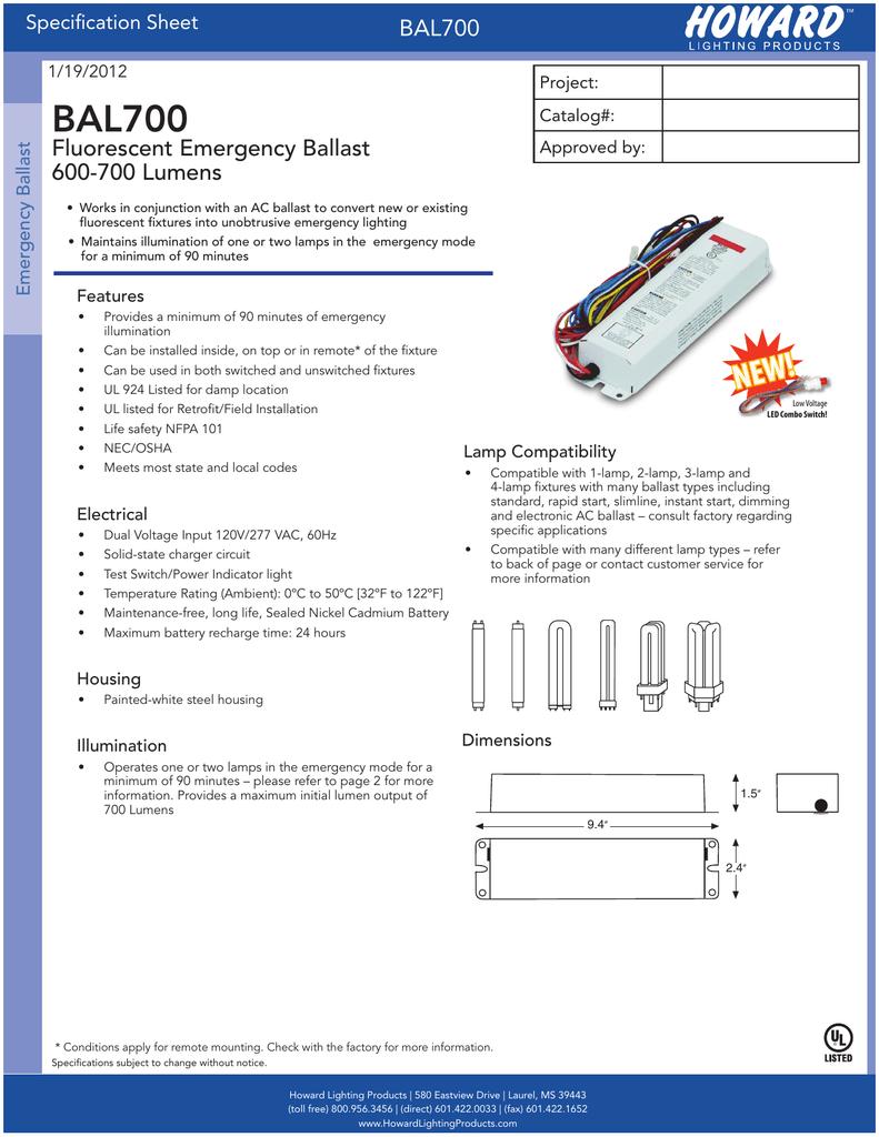 medium resolution of bal700 fluorescent emergency ballast 600 700 lumens specification sheet