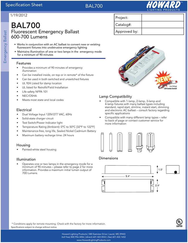 hight resolution of bal700 fluorescent emergency ballast 600 700 lumens specification sheet