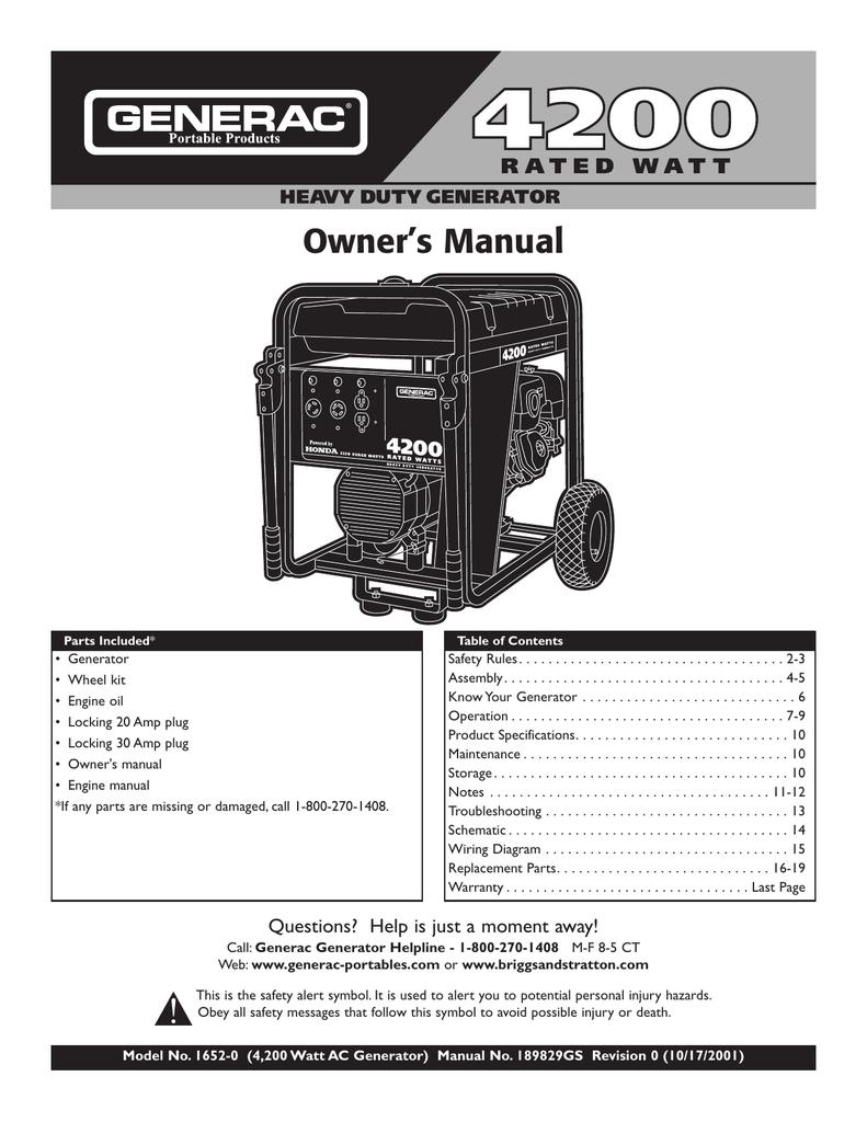 medium resolution of generac owner s manual 01652