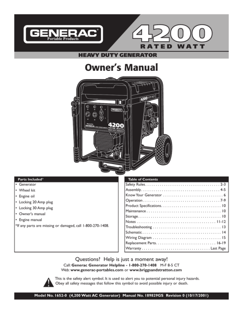 small resolution of generac owner s manual 01652