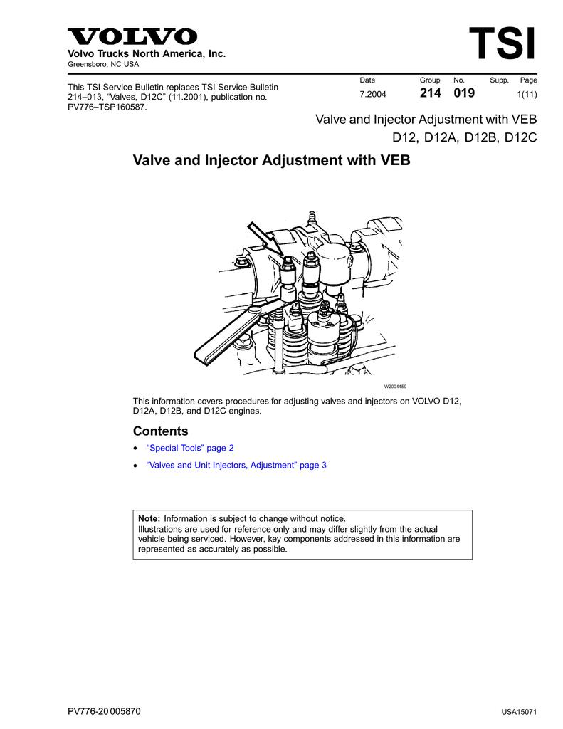 medium resolution of valve injector adjustment with veb d12 d12a d12b d12c