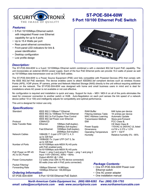 small resolution of st poe s04 60w 5 port 10 100 ethernet poe switch features