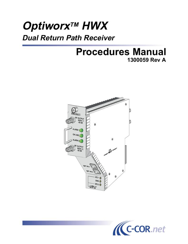 Optiworx HWX Procedures Manual Dual Return Path Receiver