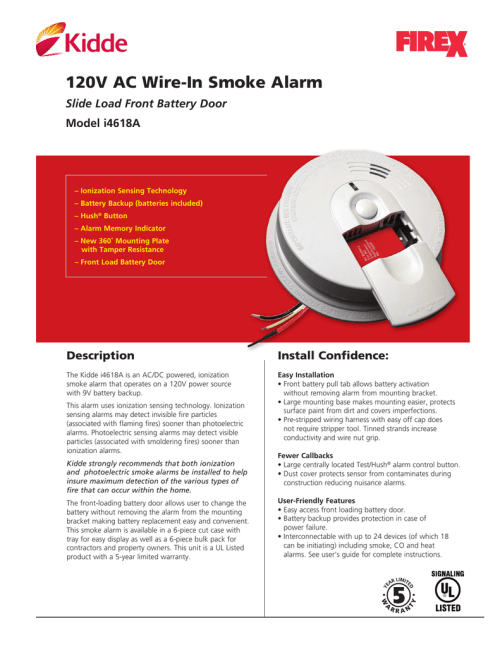 small resolution of 120v ac wire in smoke alarm slide load front battery door model i4618a