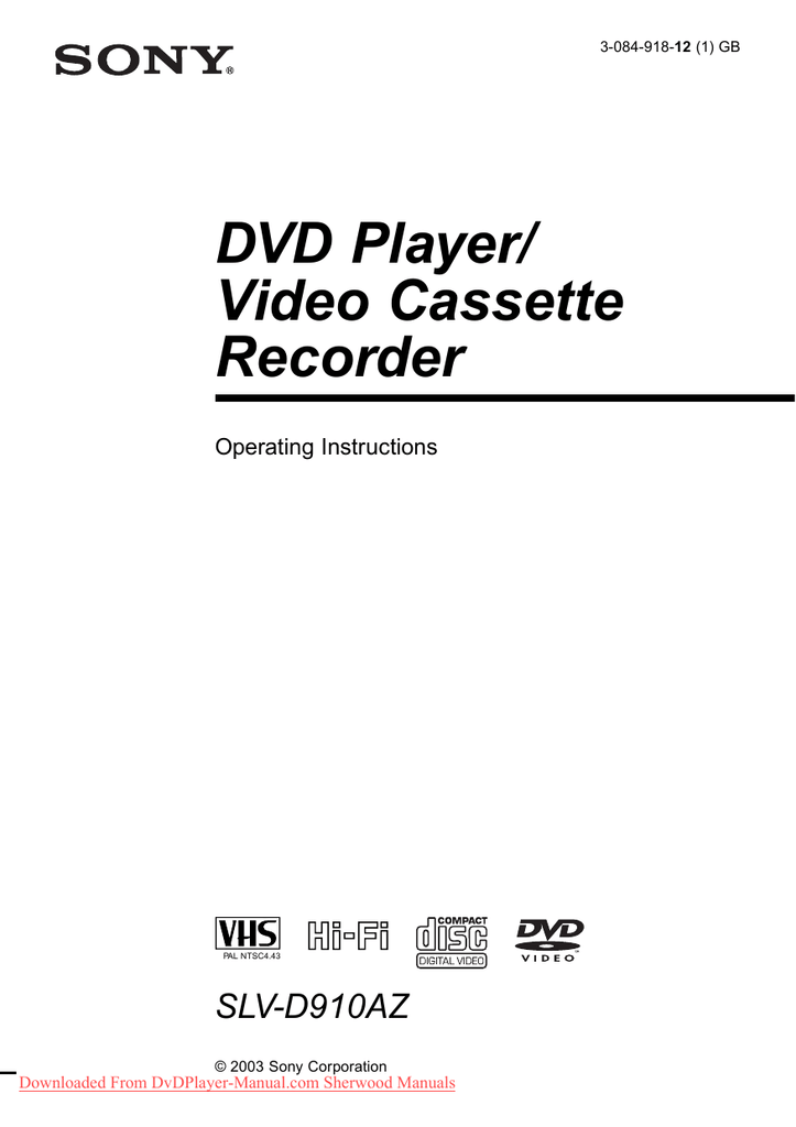 Sony SLV D910 User Guide Manual Operating Instruction Pdf