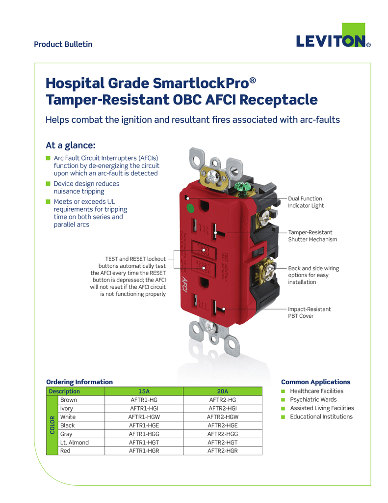 hight resolution of hospital grade afci duplex receptacle product bulletin