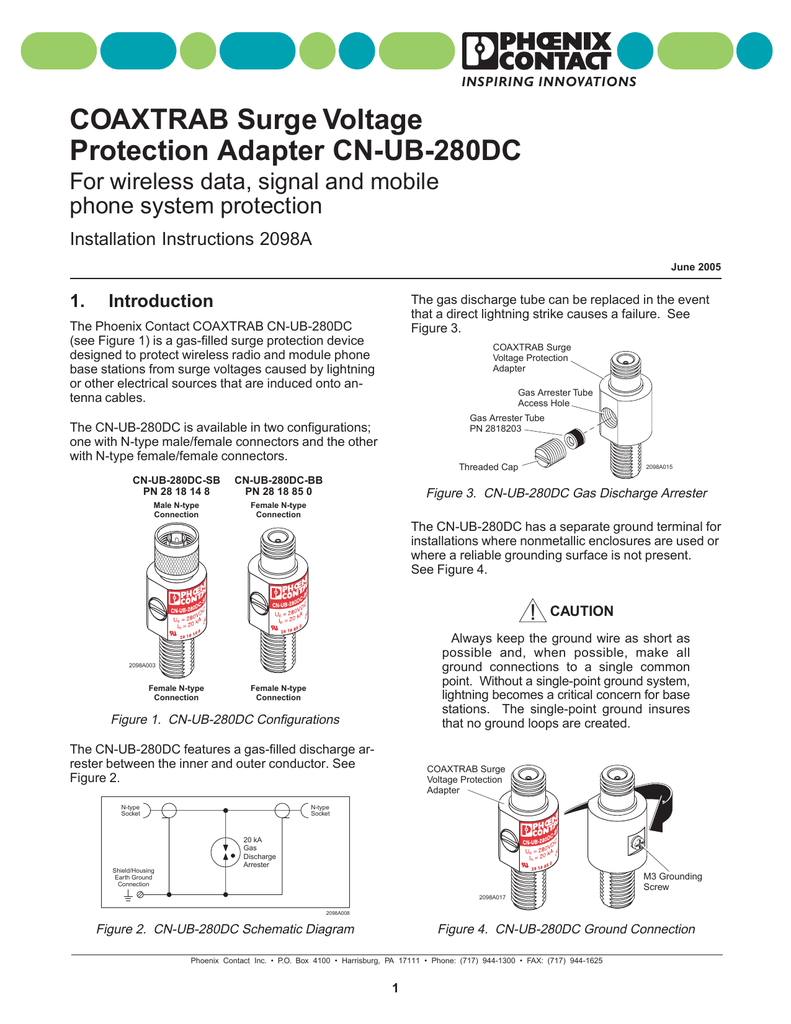 hight resolution of  spa phoenix contact coaxtrab surge arrestor installation manual on spa motor schematic spa