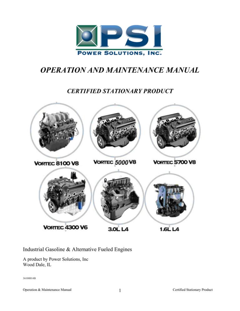 2009 PSI OPERATORS & MAINTENANCE MANUAL for 3.0L, 4.3L, 5