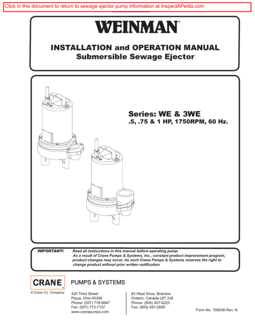 small resolution of weinman installation and operation manual submersible sewage ejector pump