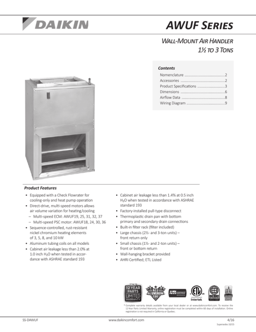 small resolution of awuf series wall mount air handler 1 to 3 tons contents