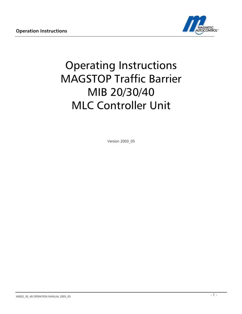 medium resolution of magnetic autocontrol mib magnetic autocontrol mib operation instructions
