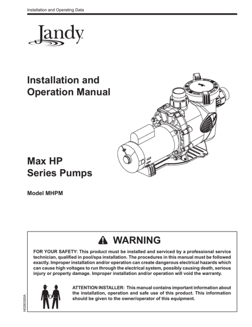 small resolution of pumps jandy max hp mhpm installation and operation manual