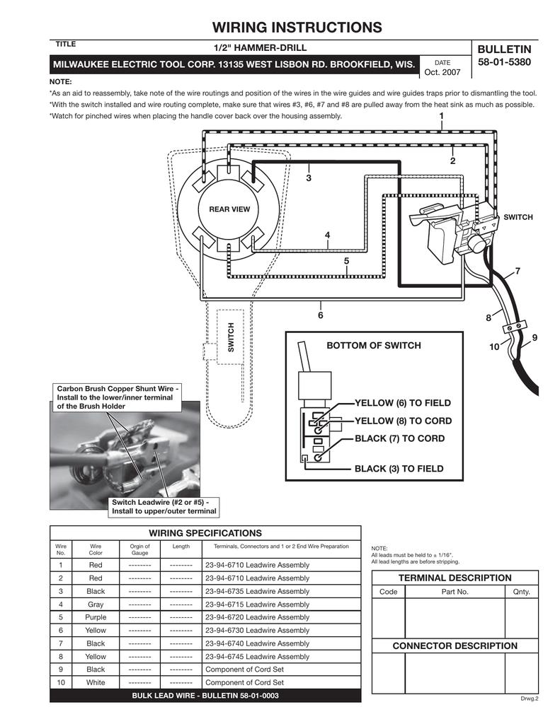 medium resolution of wiring instructions bulletin 58 01 5380 1 2 hammer drill