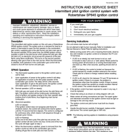 b november 2002 instruction and service sheet intermittent pilot ignition control system with robertshaw sp845 ignition control warning for your safety if  [ 791 x 1024 Pixel ]