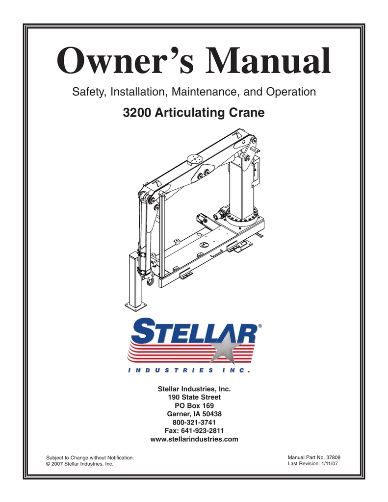 hight resolution of owner s manual 3200 articulating crane safety installation maintenance and operation