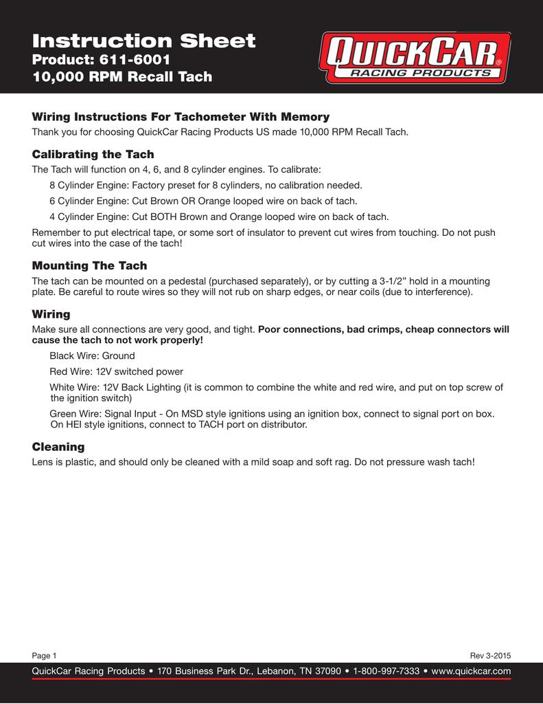 hight resolution of recall tach instruction sheet
