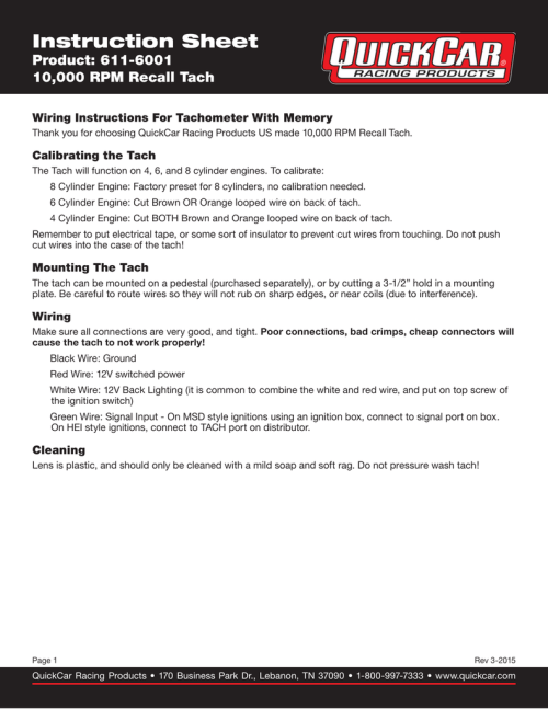 small resolution of recall tach instruction sheet