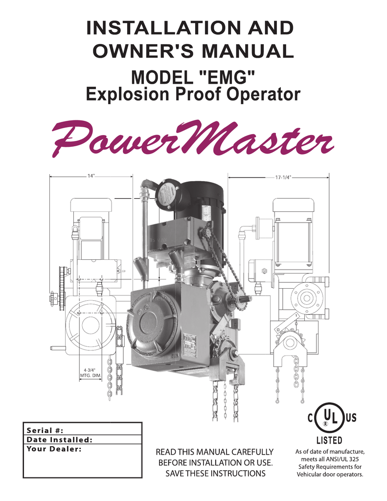 hight resolution of powermaster emg hazardous duty gear reduced hoist operator installation manual
