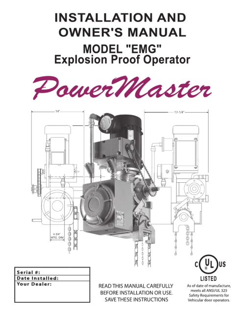 small resolution of powermaster emg hazardous duty gear reduced hoist operator installation manual