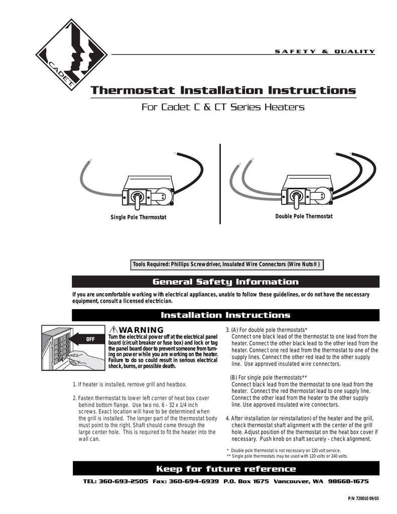 hight resolution of thermostat installation instructions for cadet c ct series heaters manualzz com