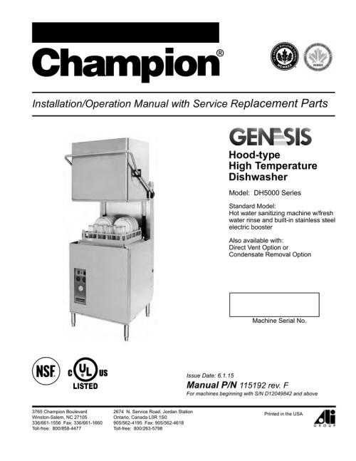 small resolution of 5000 series manualzz com champion dish machine wiring diagram