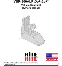 current generation vbr 300alp dok lok vehicle restraint owners manual pub 1169  [ 791 x 1024 Pixel ]