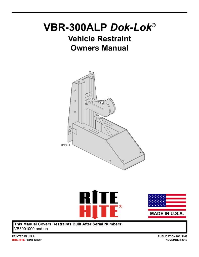 hight resolution of current generation vbr 300alp dok lok vehicle restraint owners manual pub 1169