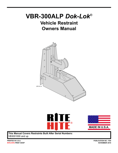 small resolution of current generation vbr 300alp dok lok vehicle restraint owners manual pub 1169