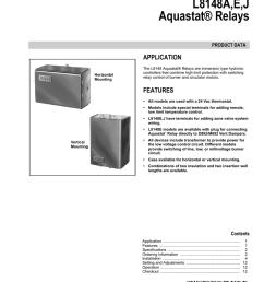 l8148a e j aquastat relays application product data [ 791 x 1024 Pixel ]