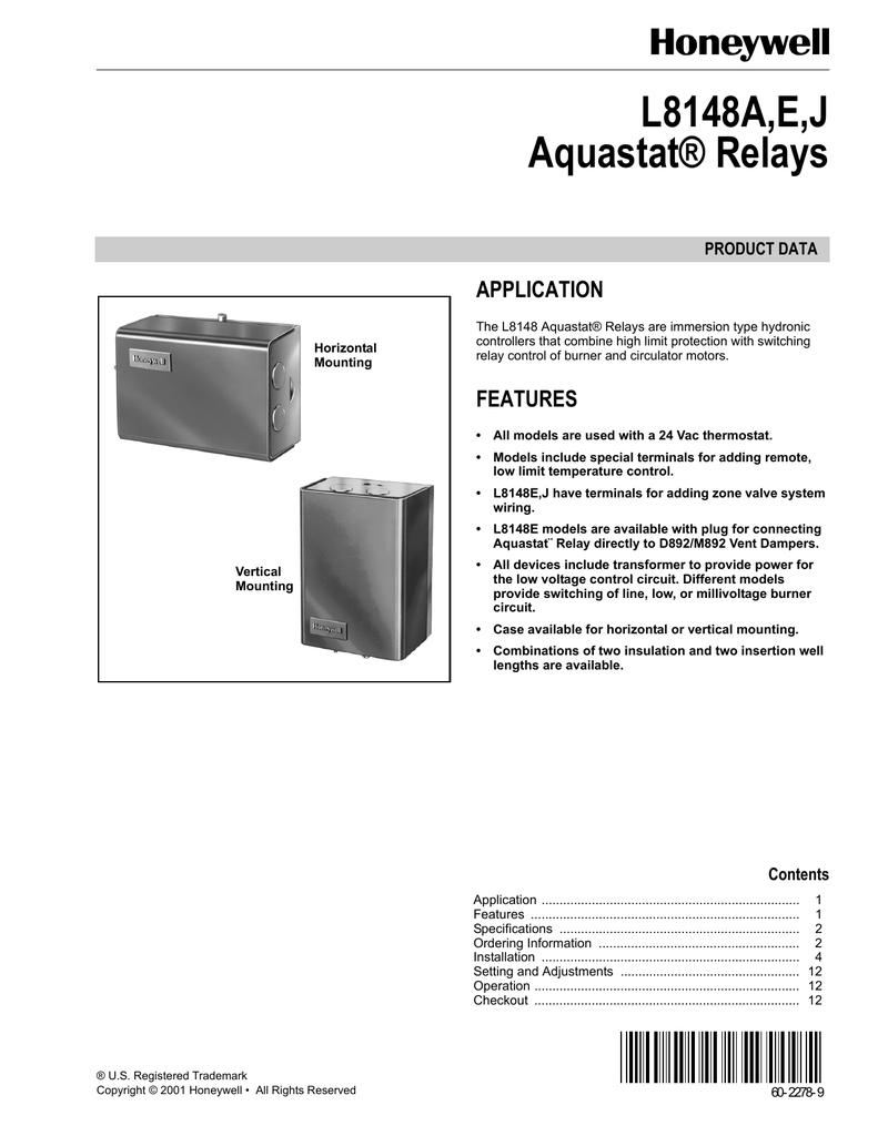 hight resolution of l8148a e j aquastat relays application product data