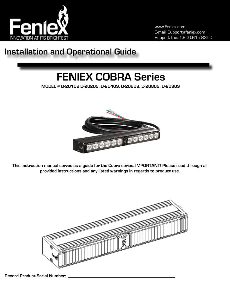 hight resolution of feniex cobra series installation and operational guide