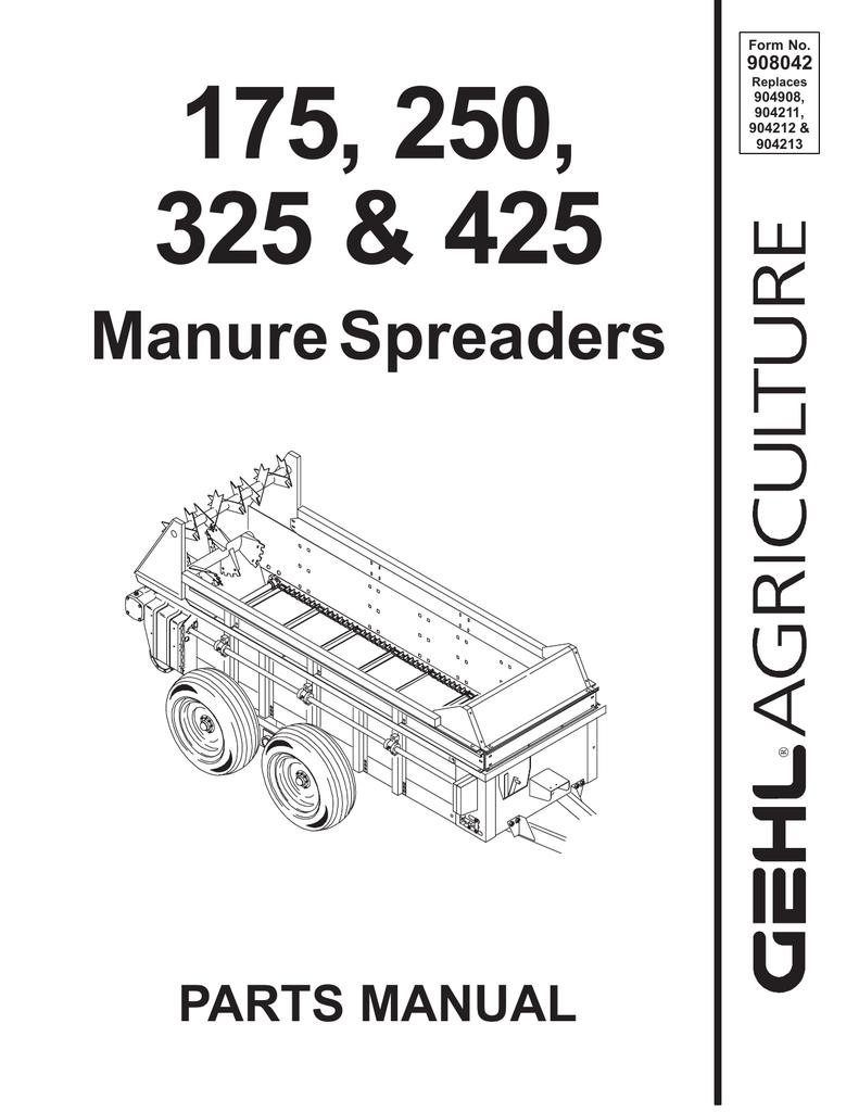 Gehl 1410 Manure Spreader Mechanical Hydraulic Drive Parts
