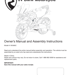 6v bmw motorcycle owner s manual and assembly instructions [ 791 x 1024 Pixel ]