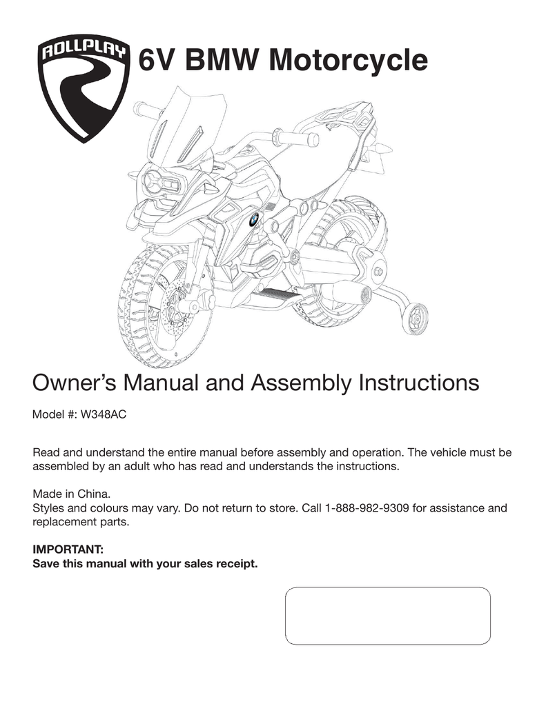 medium resolution of 6v bmw motorcycle owner s manual and assembly instructions