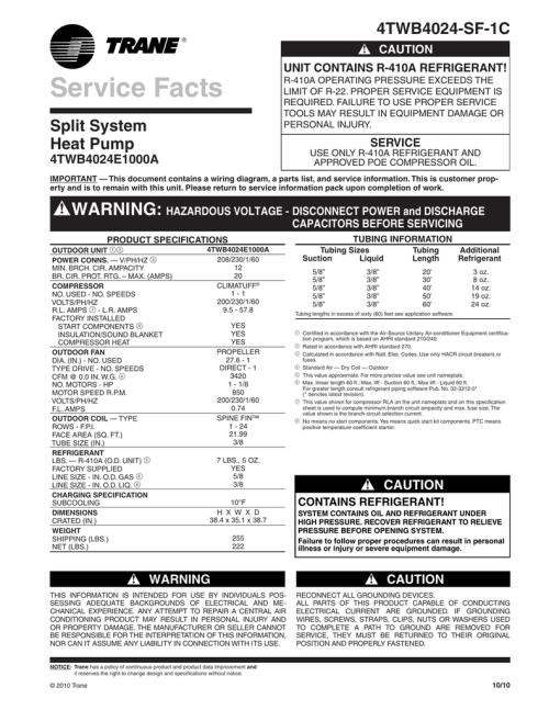 small resolution of trane xb14 heat pump service facts