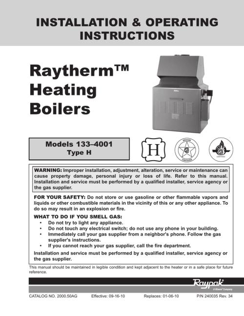 small resolution of raytherm raypak raytherm 133 4001 installation and operation instruction