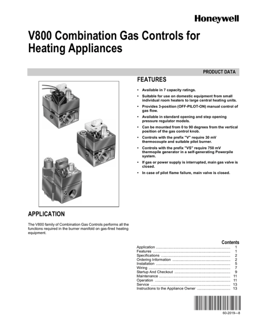 small resolution of v800 combination gas controls for heating appliances features product data