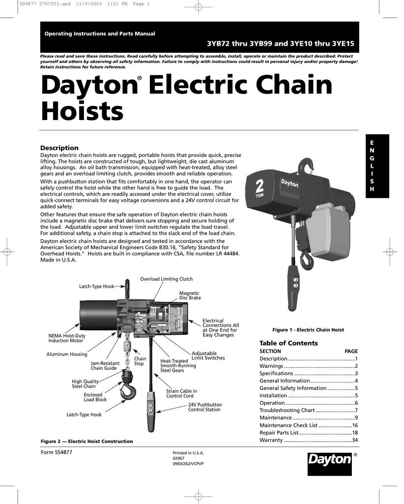 hight resolution of daytonelectricchain manualzz com dayton 1 ton electric chain hoist wiring diagram dayton hoist wiring diagram