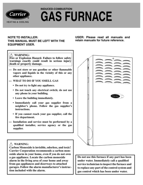 small resolution of carrier 58 cva cvx carrier 58 cva cvx induced combustion gas furnace note to installer this manual