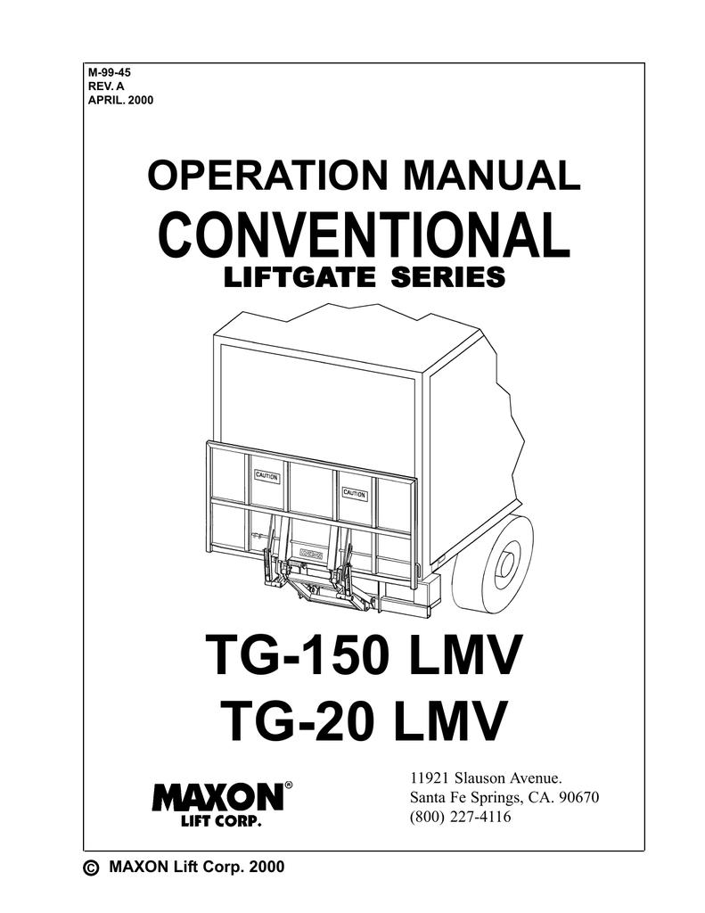 CONVENTIONAL TG-150 LMV TG-20 LMV OPERATION MANUAL